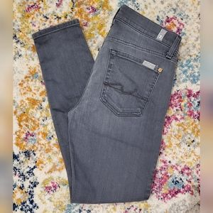 7 For All Mankind Mid-Rise Ankle Skinny Jeans Gray
